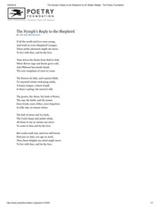The Nymph's Reply to the Shepherd by Sir Walter Ralegh _ The Poetry Foundation