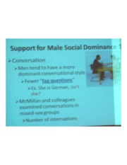 PSYCH 360 Social Psychology - Support for Male Social Dominance