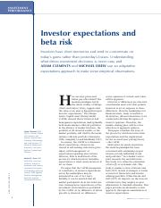 Investor Expectations and Beta Risk