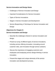 Service Innovation and Design Notes
