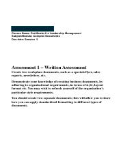 Assessment 1 Complex Documents