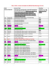 BIO210 MICROBIOLOGY LECTURE & EXAM SCHEDULE.docx