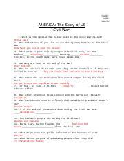 America The Story Of Us Civil War Wksht Name Chuck Qi Date 27 09