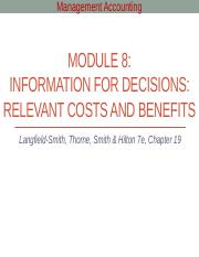 Module 8 - Information for decisions