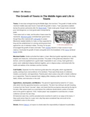 The Growth of Towns in The Middle Ages and Life in Towns