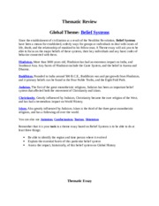 global thematic essay belief systems Global history regents thematic essay belief systems, regents global history and geography thematic essay the world has many different belief systems do not use.
