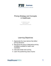 Week 5 Assessment  Material   01 Pricing Strategy and Concepts in Healthcare