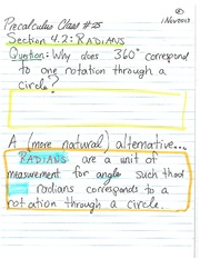 MATH 105 Fall 2013 Radians Lecture Notes