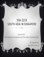 SSA 2219 Lecture Japanese Occupation