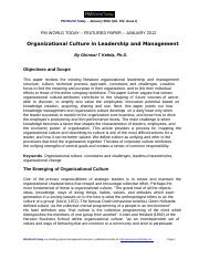 3_Organizational Culture in Leadership and Management_G. Kefela_PM World Today_2012