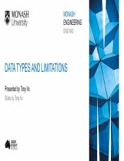 12.1 Data types and limitations
