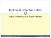 TechComm, Lecture 15 - Theses, Conference and Journal Articles 1
