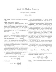 Math 128 Mobius Geometry Notes