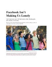 Facebook Isn't Making Us Lonely