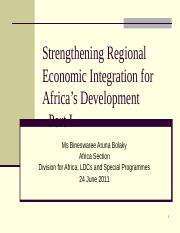 Strengthening Regional Economic Integration for Africa's Dev