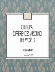 Lecture 6 - Cultural Differences Around The World