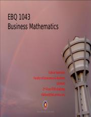 EBQ 1043 (Introduction) Business Mathematic