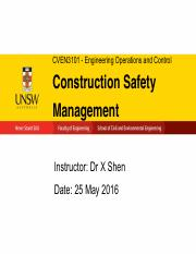 Lecture 12a - Construction Safety Management