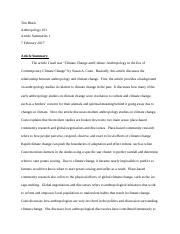 Anthropology Article Summary 1