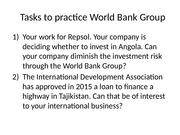 Tasks to practice World Bank Group