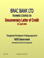 Letter of Credit - Presentation - Ptcpt Handout