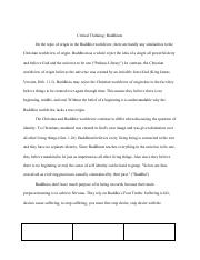 critical thinking paper apol 104 buddhism