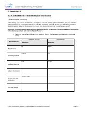8.2.4.4 Worksheet - Mobile Device Information