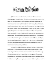 Mission Reflection Example