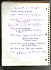 Notes on Sensation and Perception
