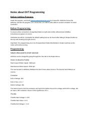 DVTProgramming docx - Notes about DVT Programming Before