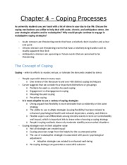 Chapter 4 – Coping Processes
