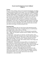 Chapter 8 notes on Pyschosocial Development in Early Childhood
