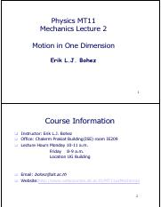 lecture2 kinematics (one dimension) [week 2]
