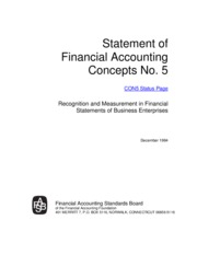 FASB Concepts Statement No. 5, Recognition and Measurement in Financial Statements of Business Enter
