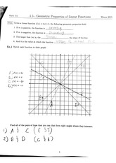 Math 111 1.5 Geometric Properties of Linear Functions Notes