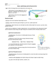 10.1 Light Energy and Its Sources Notes KEY
