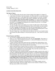 Locke - Second Treatise - Study Notes
