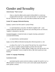 Ling 370 Ch 8 Gender and Sexuality Outline