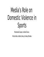 Media's Role on Domestic Violence