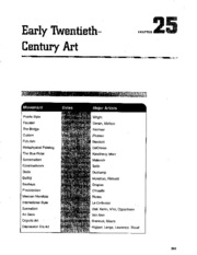 Chapter 25 Early 20th Century Art AP Study Guide