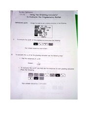 Worksheet on using a graphic calculator Pre-Calculus