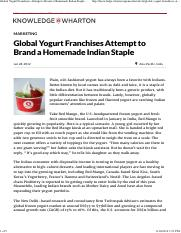 03a. Global Yogurt Franchises Attempt to Brand a Homemade Indian Staple - Knowledge@Wharton
