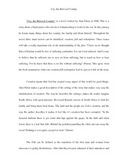 personal worldview essay personalworldview whatithinknow have  3 pages cry the beloved country essay