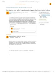 Problem 1 Conduct A One-tailed Hypothesis Test Given The... _ Chegg