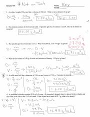 Density Practice Problems Key Pdf Course Hero