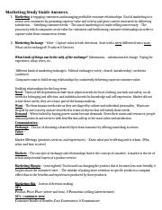 marketing study guide answers TEST 1