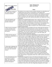 W HIST Cornell Notes- Impact of Revolution on the Western Hemisphere