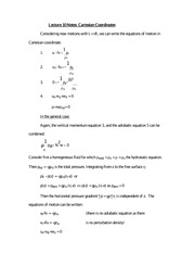 Lecture 10 Notes Cartesian Coordinates