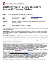 General Chemistry I Syllabus pdf - CHEMISTRY 1210 General