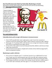 6.1 Article - Marketing - (5) Fast Food Restaurants Dish Up Unhealthy Marketing to Youth copy